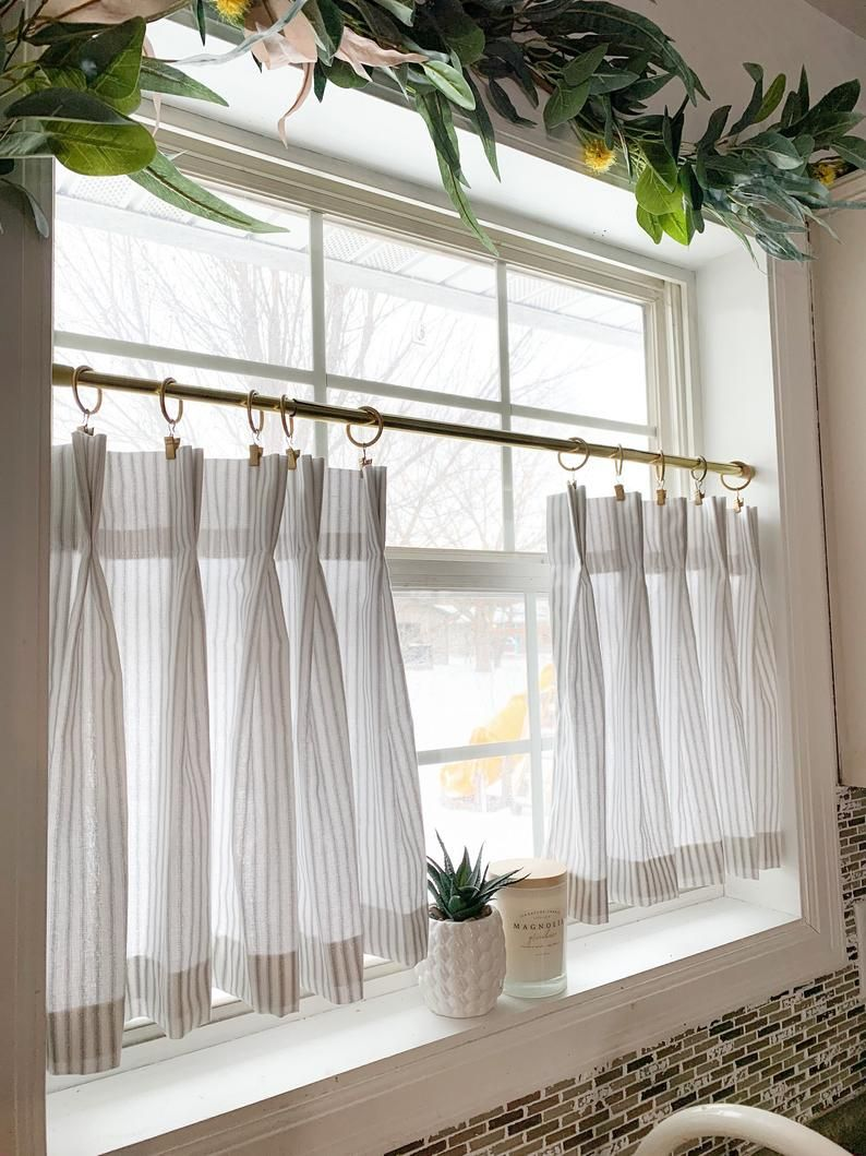 Pleated Ticking Striped Cafe Curtains Tier Curtains Kitchen Etsy In 2020 Cafe Curtains Kitchen Window Treatments Kitchen Window Curtains