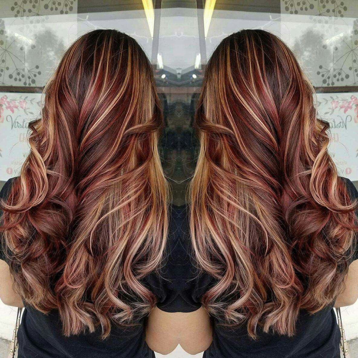 Red Hair Balayage Brown Hair Blonde Highlights Contrast Long Hair Curls Vista Red Highlights In Brown Hair Brown Hair With Blonde Highlights Hair Styles