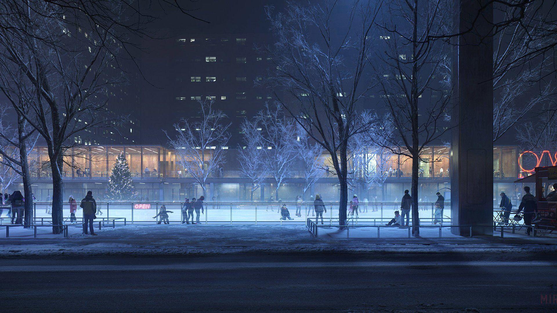 Anime Original City Night Tree Winter Wallpaper Winter Wallpaper Tree Winter Wallpaper Anime City