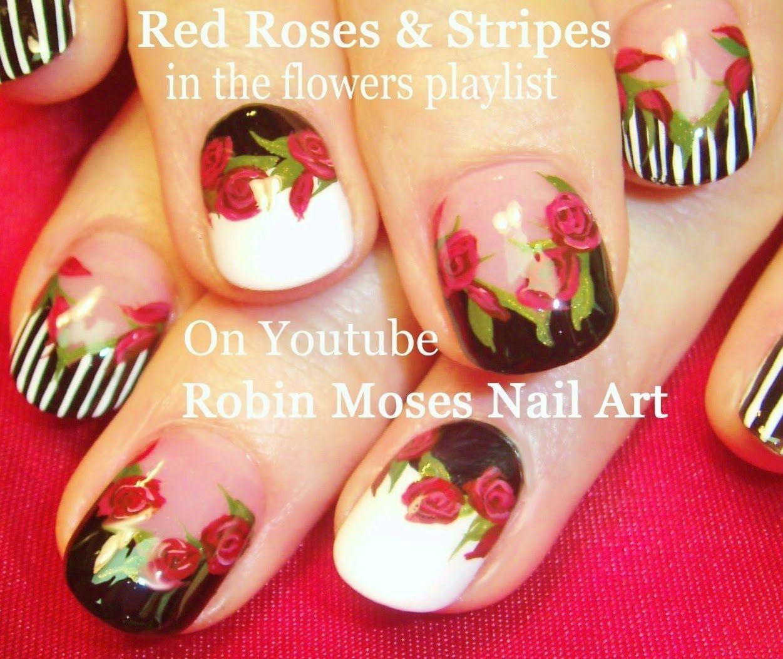 5 Nail Art Tutorials Diy Nail Designs Red Roses Stripes Nail