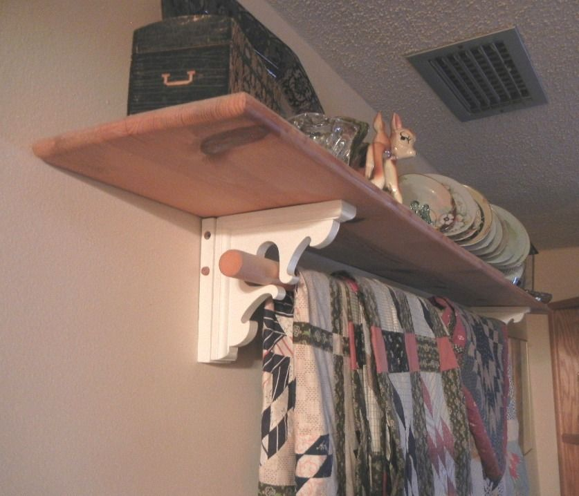Shelf Brackets Wooden Closet Rod Quilt Hanger And