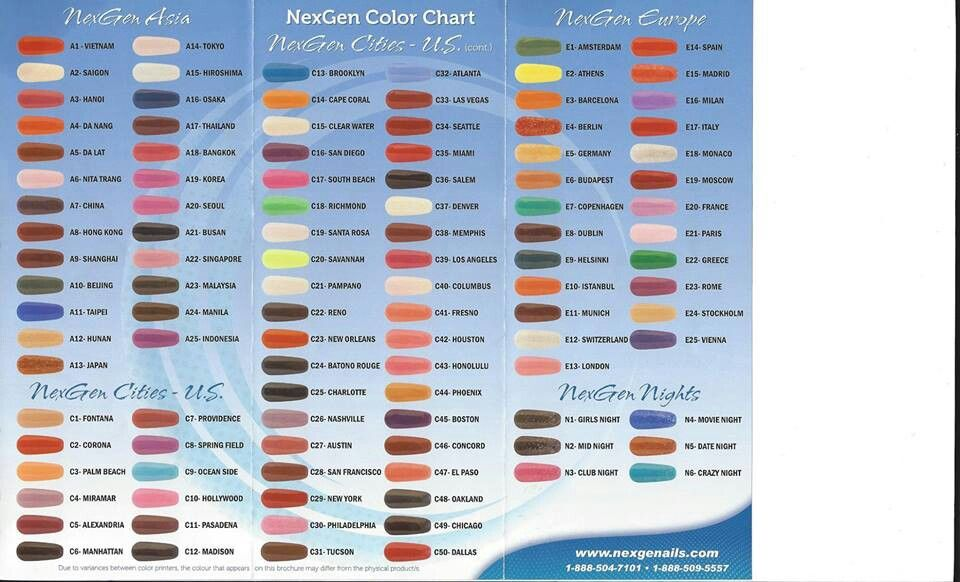 Colors Charts There Is 106 Colors 8 Different Pinks French Many Sparkles Colors Nexgen Nails Colors Nexgen Nails Nexgen Colors