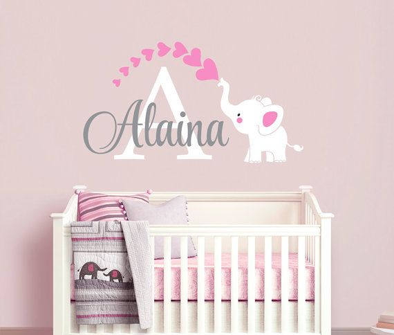Elephant Custom Name Personalized Initial Wall Decal Sticker For - Personalized custom vinyl wall decals for nursery