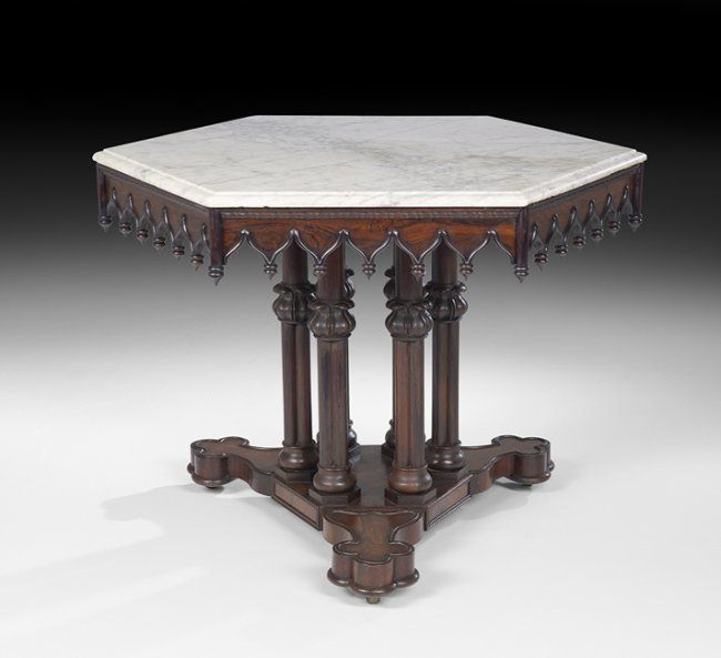 Important American Gothic Revival Center Table : Lot 1180