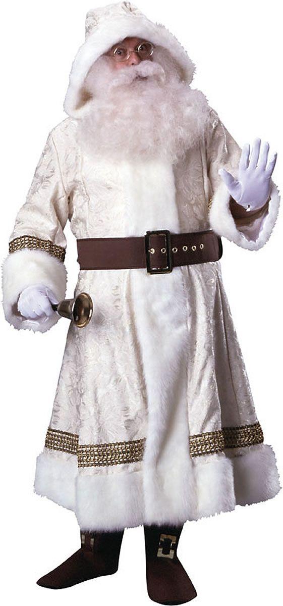 santa claus costume old time santa suit w hood - White Santa Claus