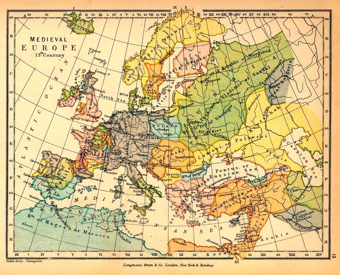 Carte Europe Medievale.Map Europe In The 13th Century Polities Changed Often And