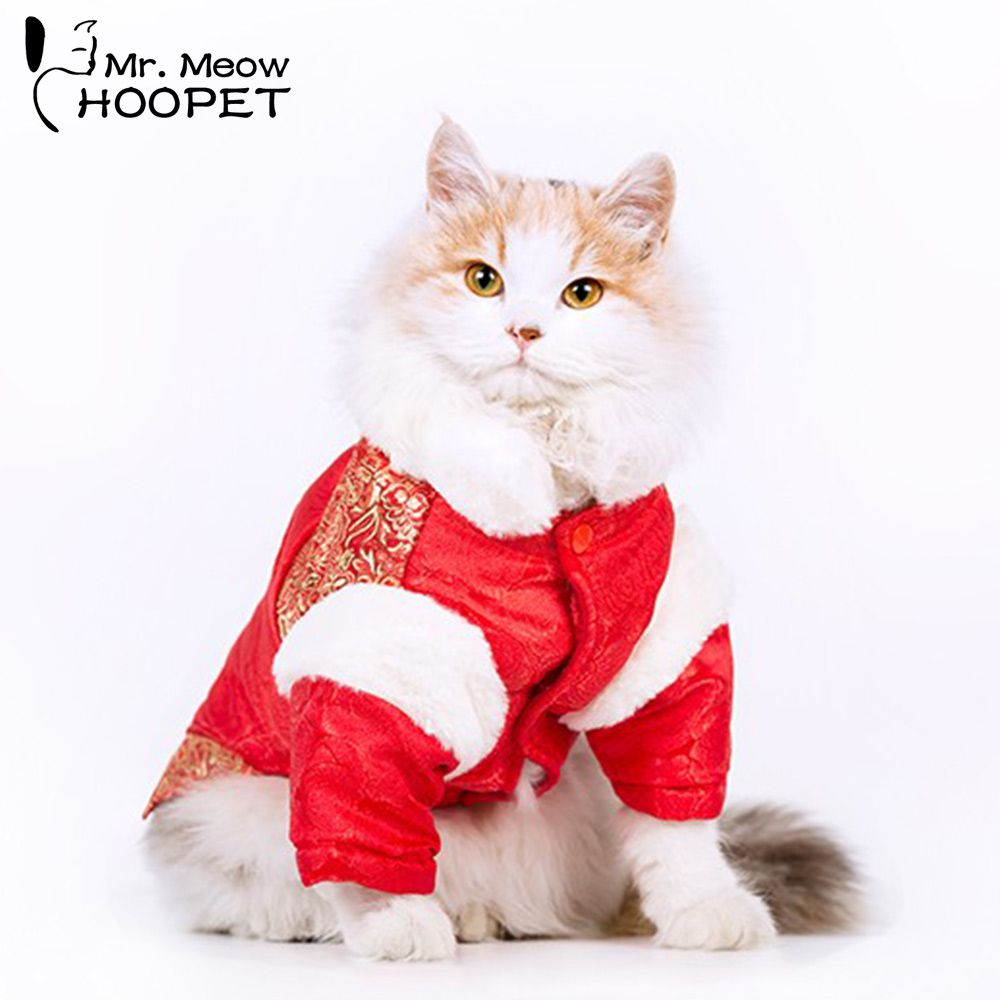 Hoopet Red Pet Clothing Chinese Costume Cheongsam Pet Clothes Gold