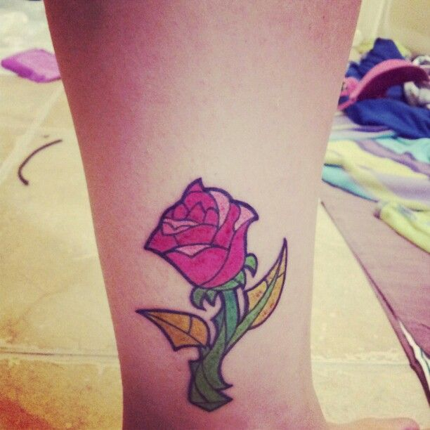 Beauty and the beast stain glass rose   Tattoos ...