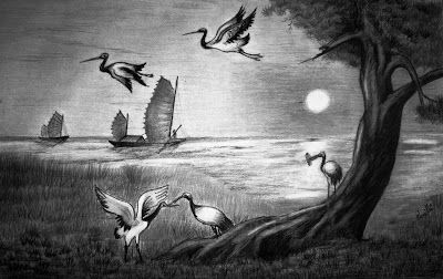 Beautiful Pencil Drawings Of Nature Sunset At The River Side