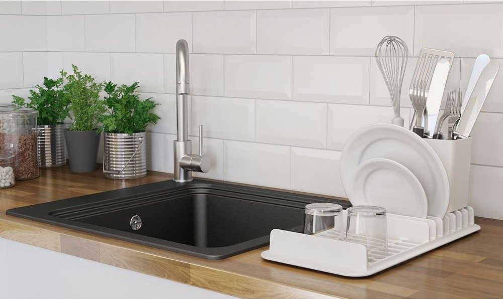 Evier Cuisine Design Pas Cher.Evier En Granit Noir 1 Bac A Encastrer Romesco Pas Cher