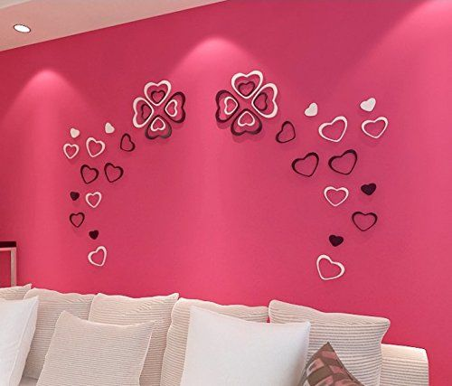 Zjchao Wooden 3d Heart Wall Stickers For Living Room Bedroom Diy Decoration 5 Pack A Set Black Diy Wall Decor Wall Stickers Living Room Heart Wall Stickers
