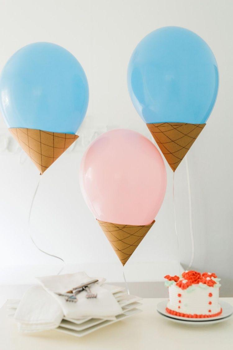 Luftballons wie Eis dekoriert - Waffel aus Papier ...