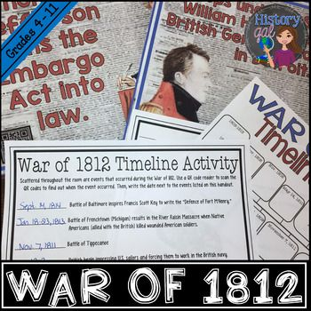 War Of 1812 Timeline Activity With And Without Qr Codes History