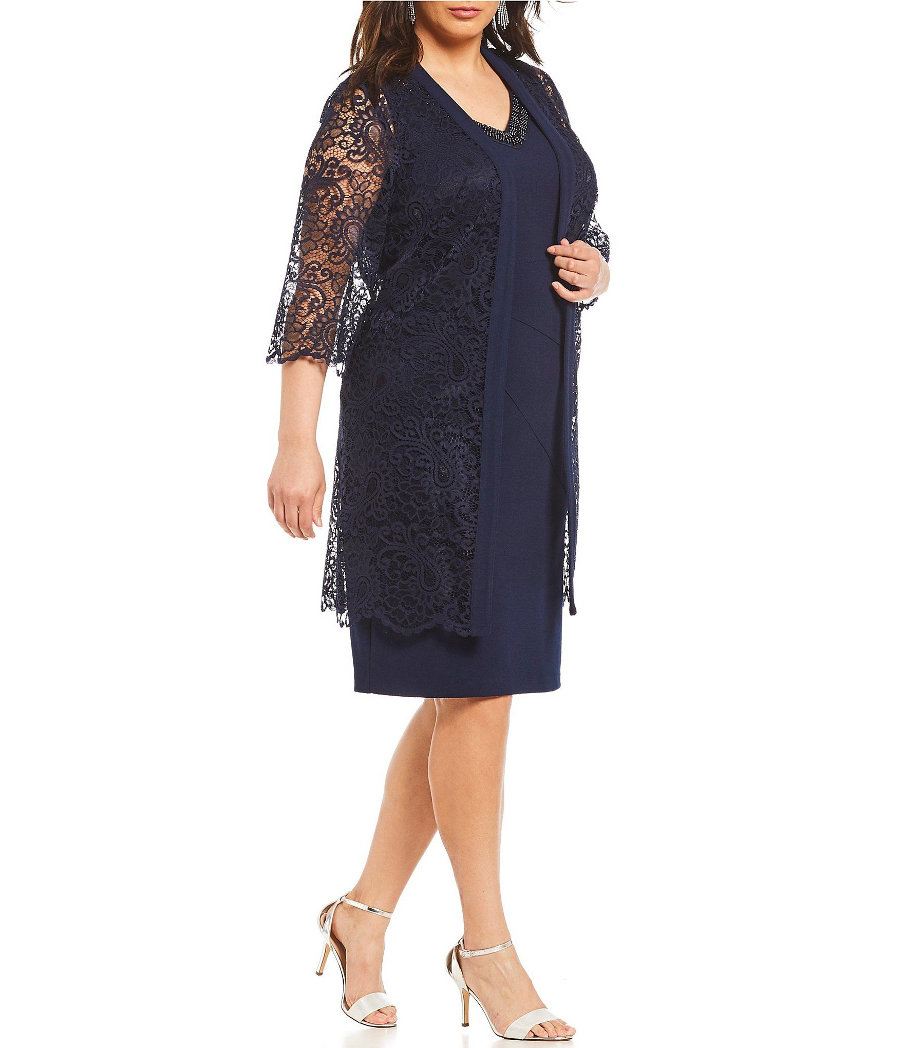 84e9e10f66 Le Bos Plus Size 2-Pice Lace Jacket Dress in 2019