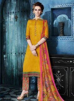 Magical Mustard Embroidery Work Cotton Satin Pakistani Salwar Kameez  http://www.angelnx.com/Salwar-Kameez#/sort=p.date_added/order=DESC/limit=32/page=7