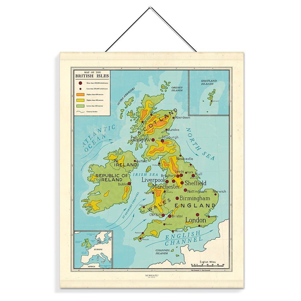 Map of the British Isles Print from Newgate Clocks