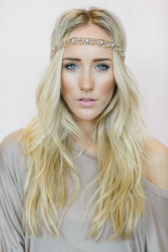 Accessories Beaded Headdress Wedding Gold Metal With Grey Beads Soft Tiara Boho Headband Jewelry & Watches