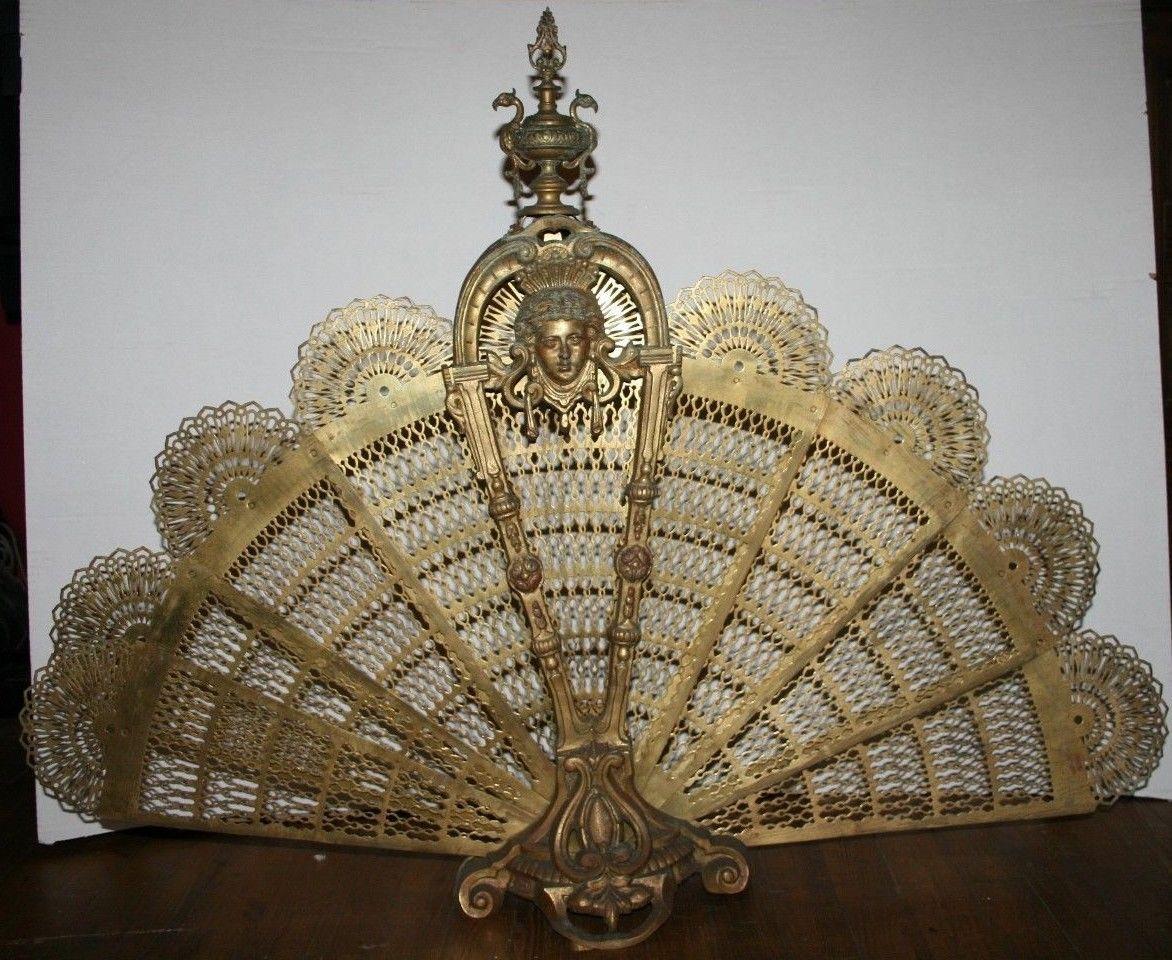 magnifique pare feu pare tincelles bronze ventail chemin e mod le rare art antiquit s. Black Bedroom Furniture Sets. Home Design Ideas