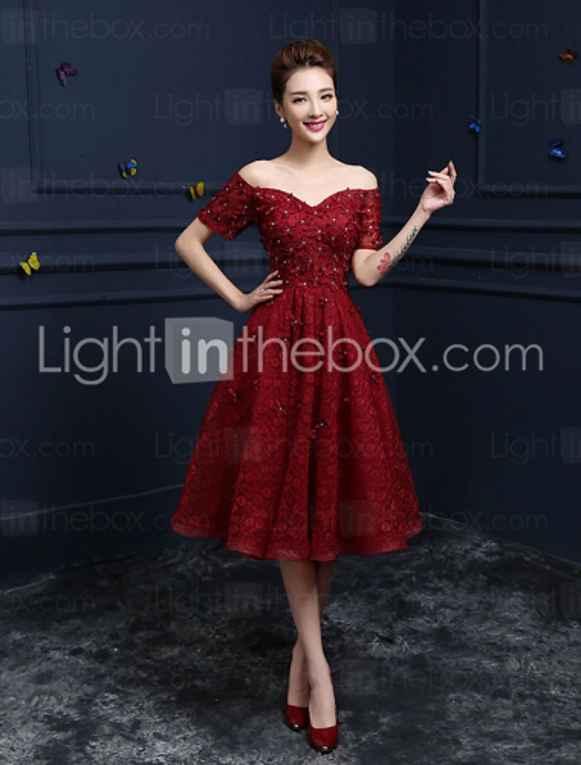 A-Line Off Shoulder / V Wire Tea Length Beaded Lace Cocktail Party ...