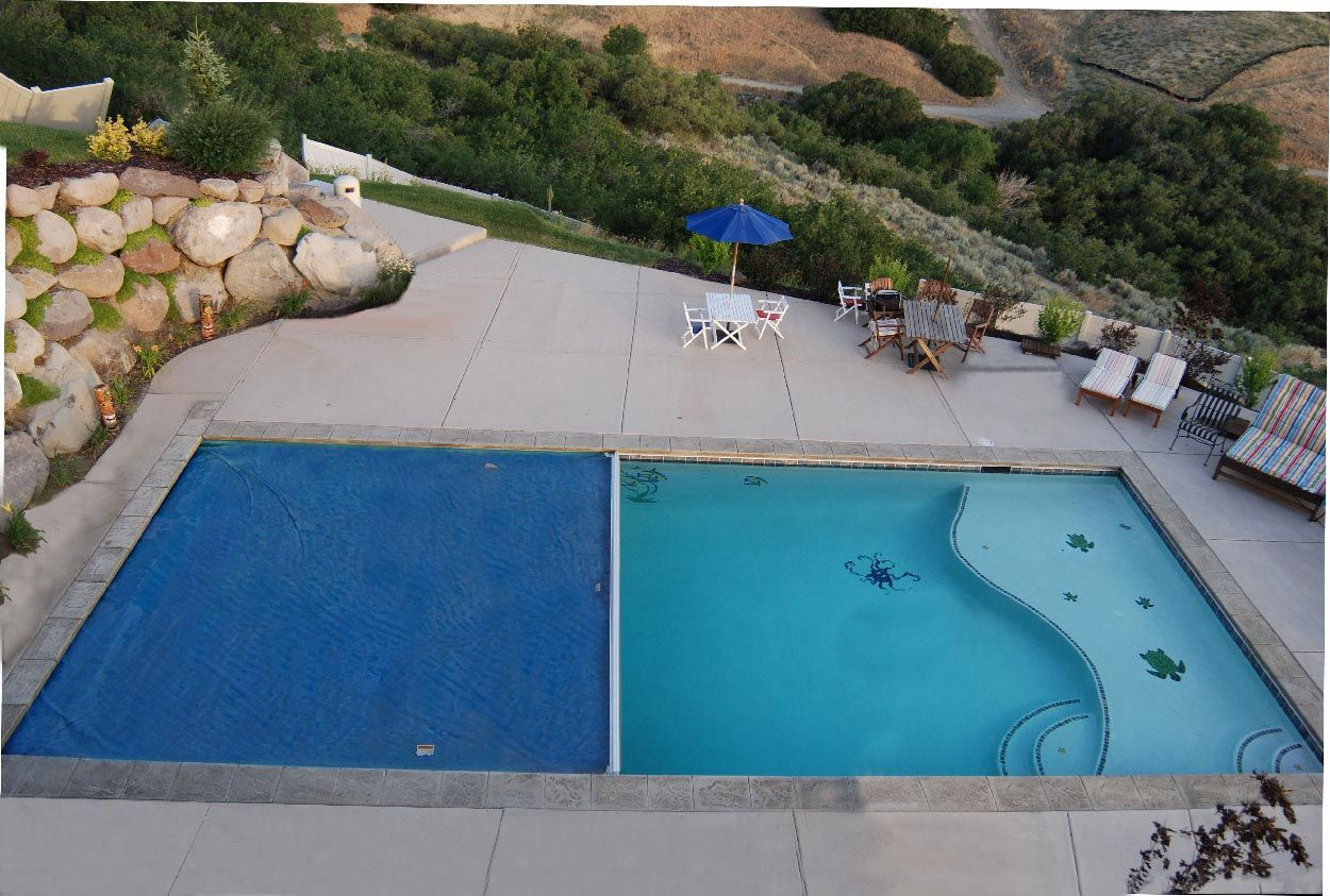 Semi Inground Pool With Deep End Pool Swimming Pools Semi Inground Pools Pool Safety Covers