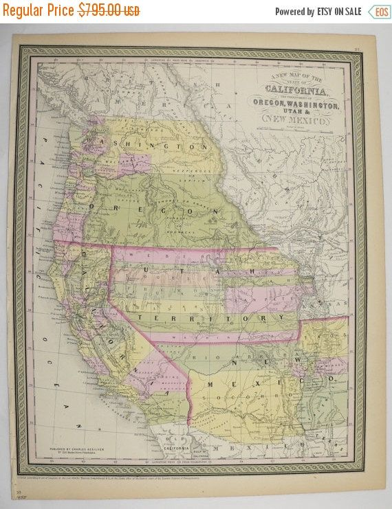 Rare United States Map California New Mexico Map Utah Washington