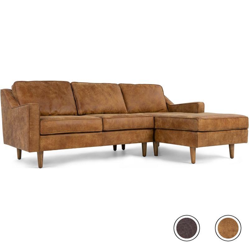 Dallas Right Hand Facing Chaise End Corner Sofa Outback Tan Premium Leather Chaise Sofa Corner Sofa