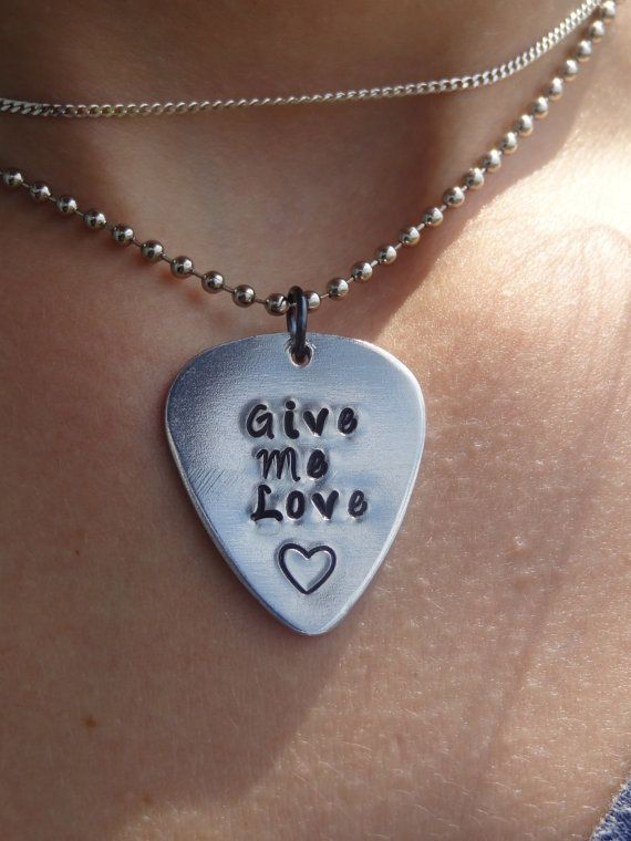 Ed Sheeran Give Me Love Hand Stamped Guitar Pick Necklace on Etsy, $12.50