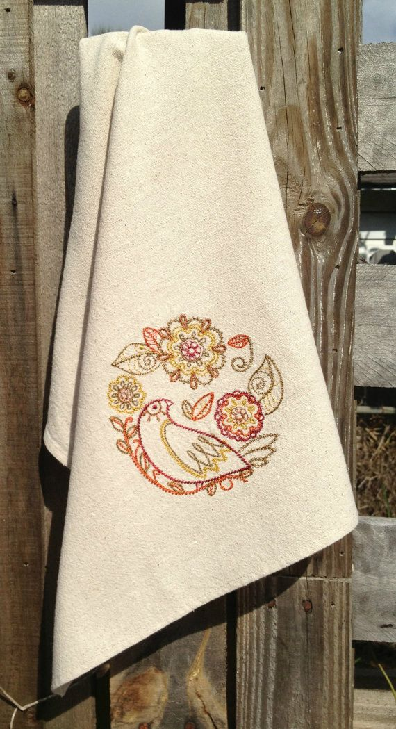 Dish Towel Vintage Style Bird Red Orange and Gold Embroidered ...