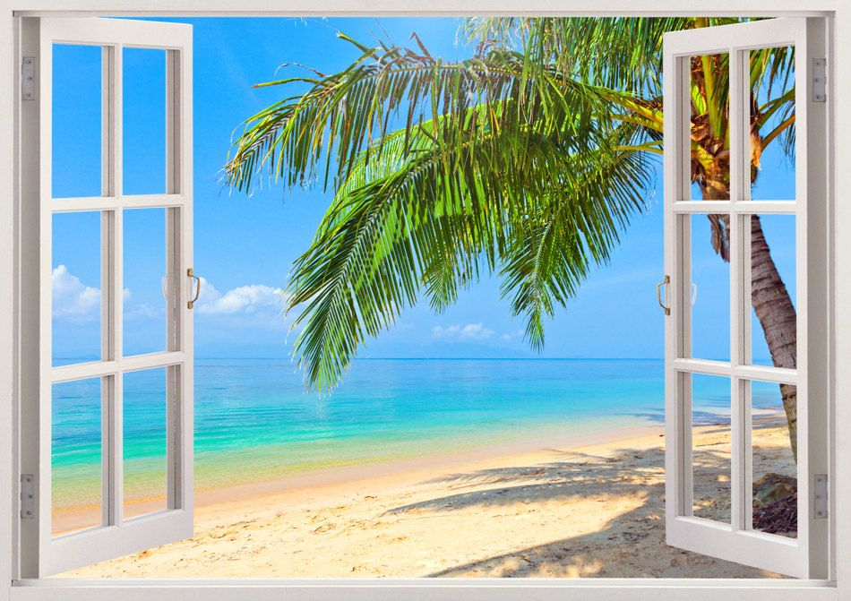 Large removable faux beach scene murals google search for Beach window mural