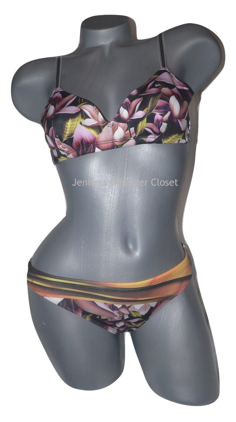 NWT CLOVER CANYON M neoprene swimsuit bikini chrome divide 2pc scuba celebrity