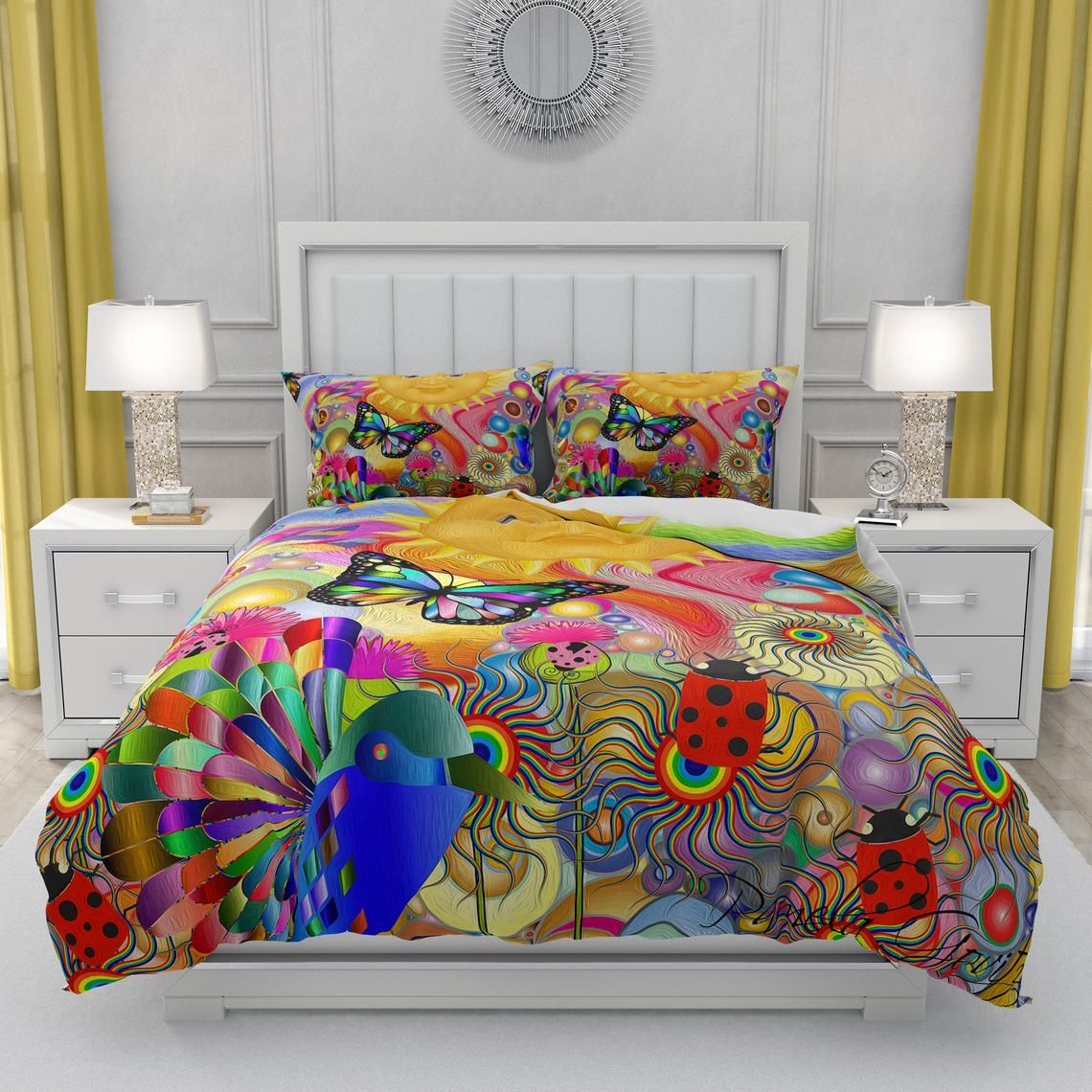 Sunshine Hippie Comforter Duvet Cover Pillow Shams Bettbezug Bettdeckenbezug Bett Ideen