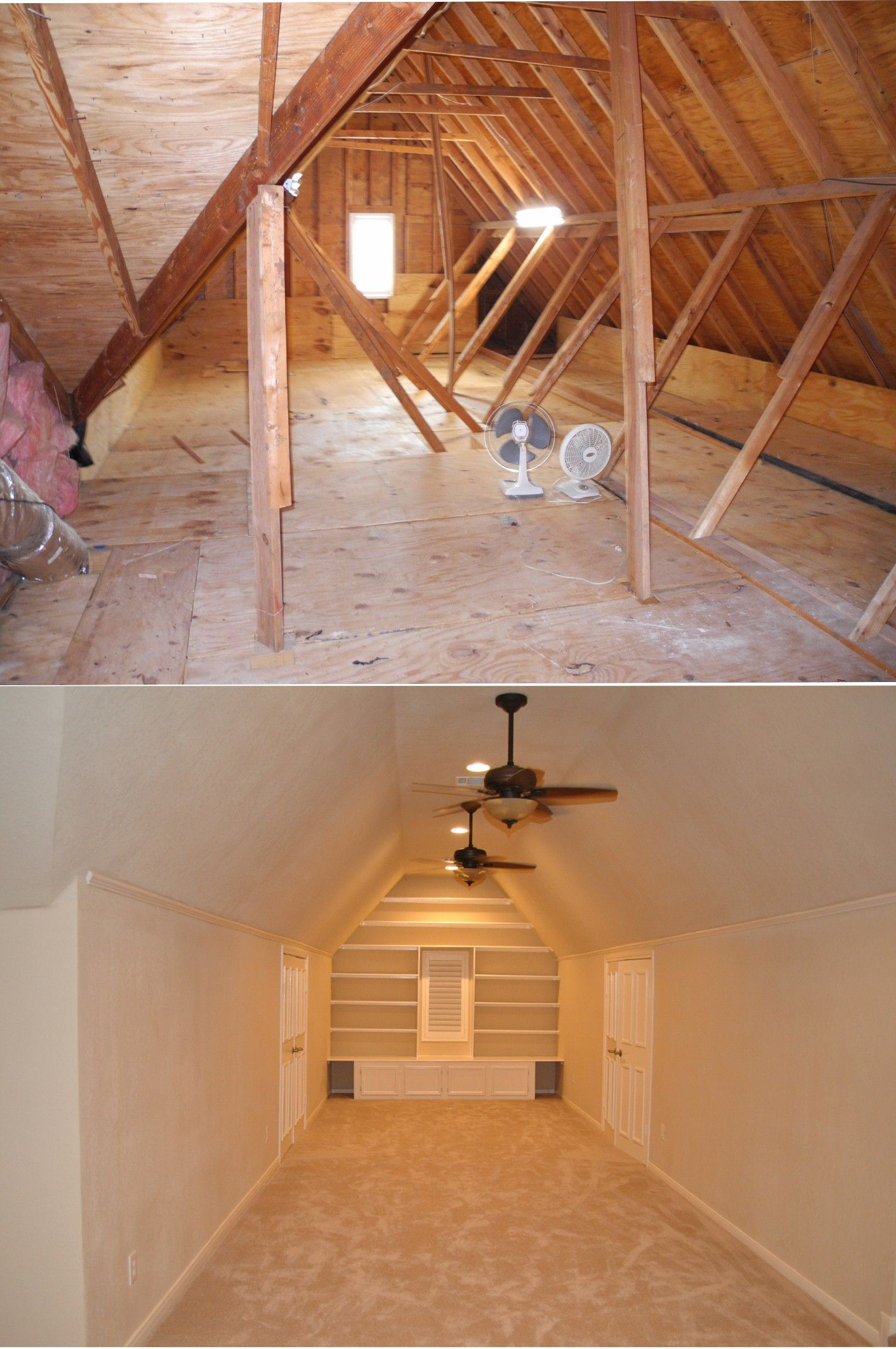 Our Attic Renovation Craft And Media Area With Storage Closets Flanking Both Sides Attic Remodel Attic Renovation Attic Apartment