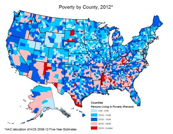 Rural Poverty Decreases Yet Remains Higher Than The Us Poverty - Poverty-in-the-us-map