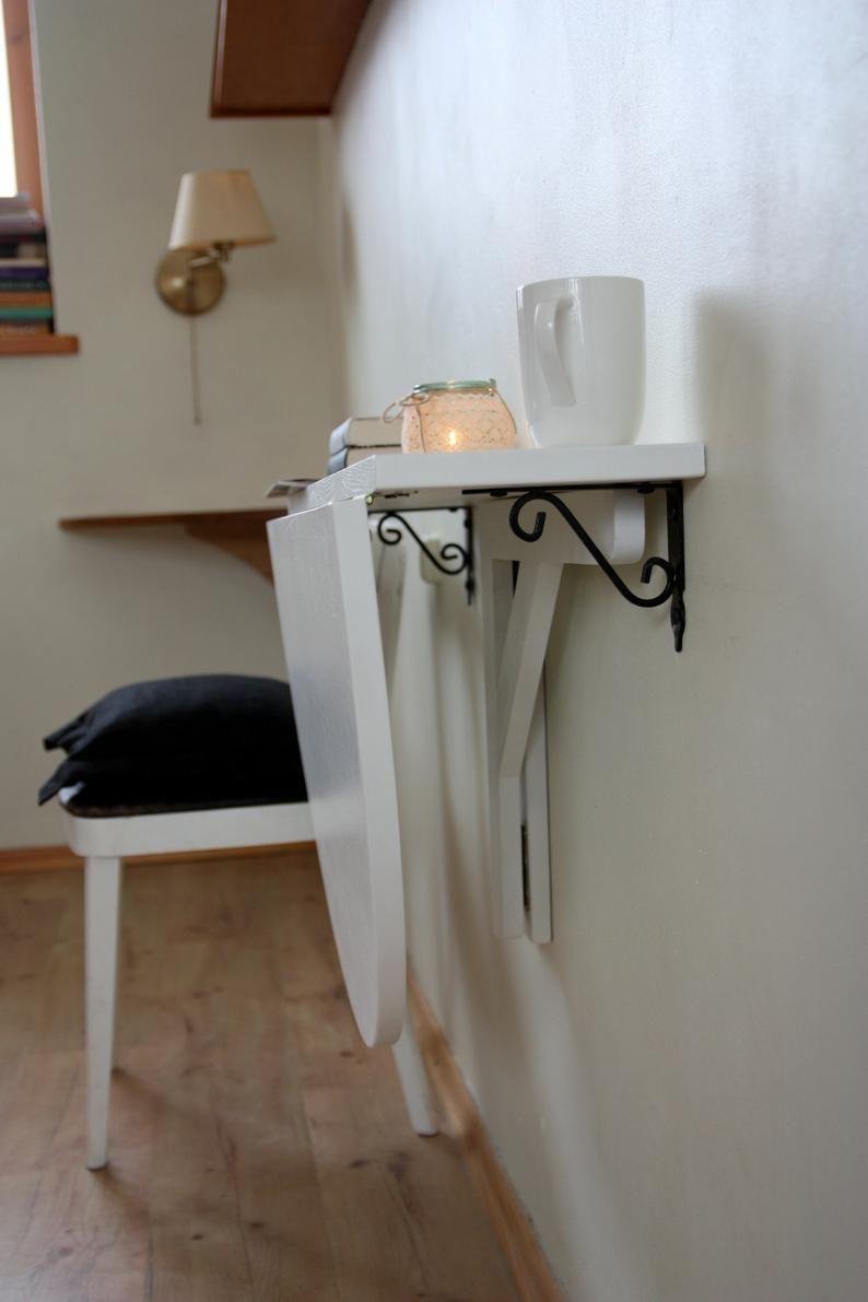 Table De Cuisine Gain De Place white wall mounted drop leaf table fold down desk wall