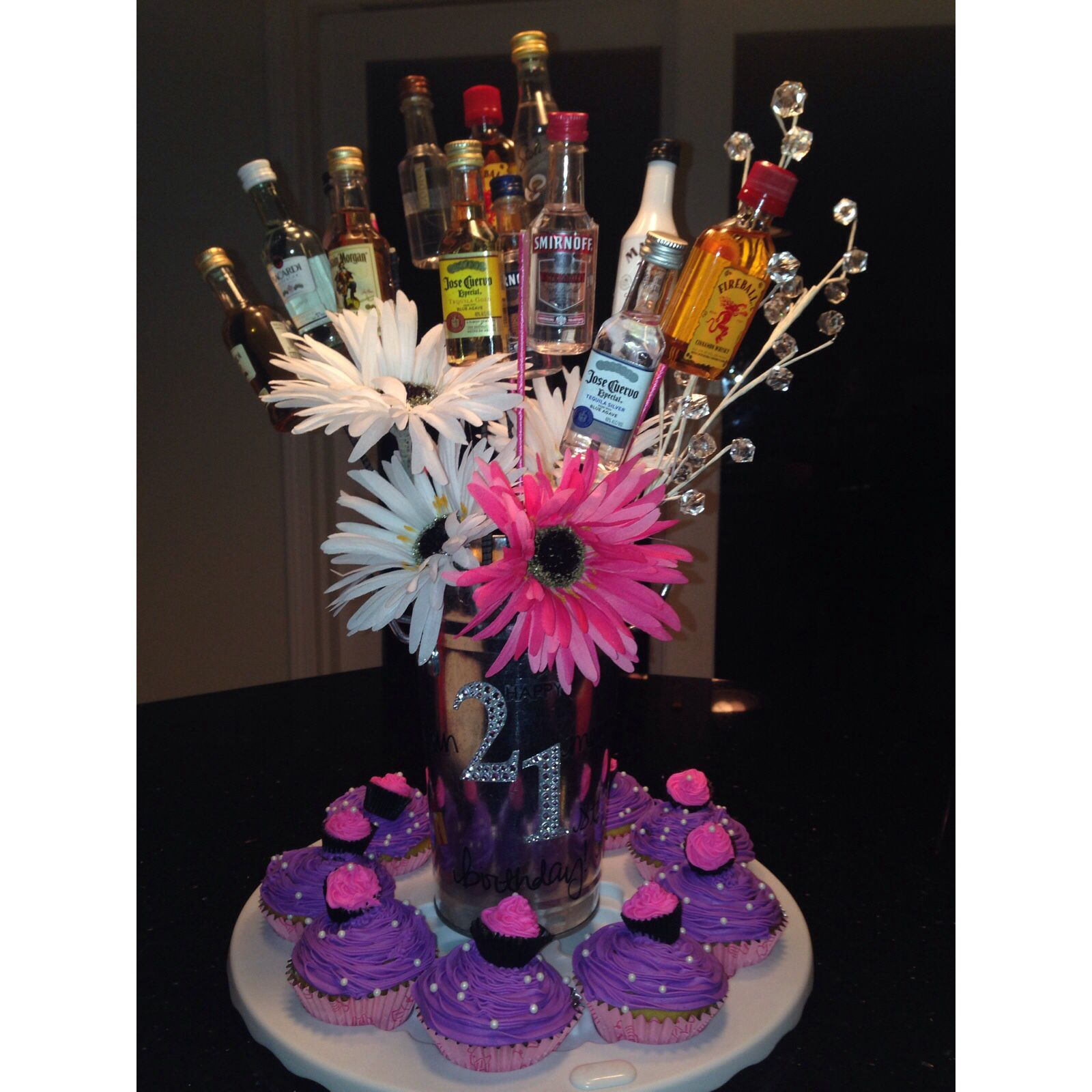 Liquor Bouquet For A 21st Birthday Girly 21st Birthday Idea 21st Birthday 21st Birthday