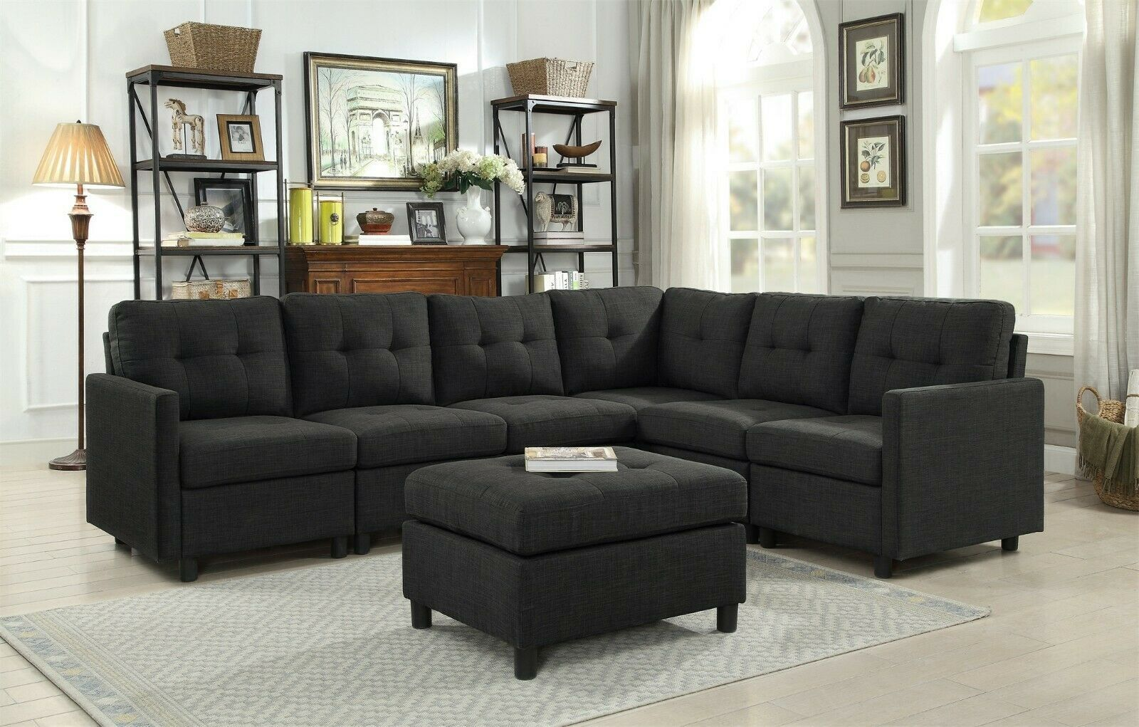 Sectional Sofa Set Modular Piece Furniture Easy To Assemble Charcoal Couch Grey Sofas In 2020 Contemporary Sectional Sofa Modular Sectional Sofa Grey Sectional Sofa
