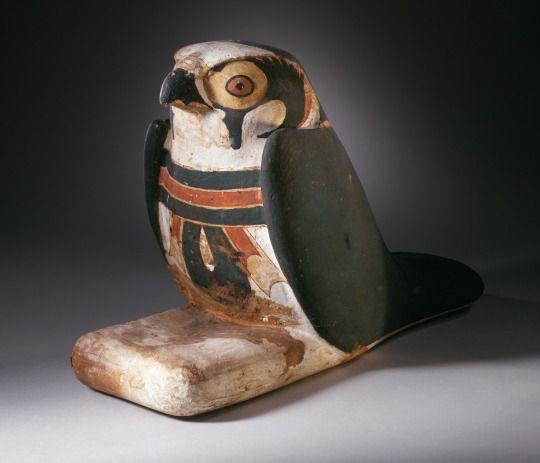 ~ Mummiform Falcon with Inscribed Menat. Place of origin: Egypt Period: Third Intermediate Period (1070 - 712 B.C.) Medium: Wood, gesso and polychrome paint.