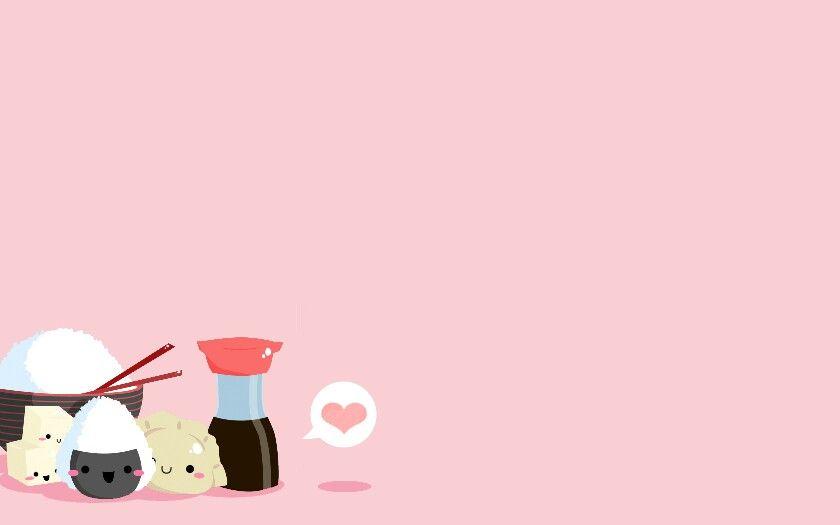 Sushi Pink Cute Desktop Wallpaper Cute Laptop Wallpaper Kawaii Wallpaper