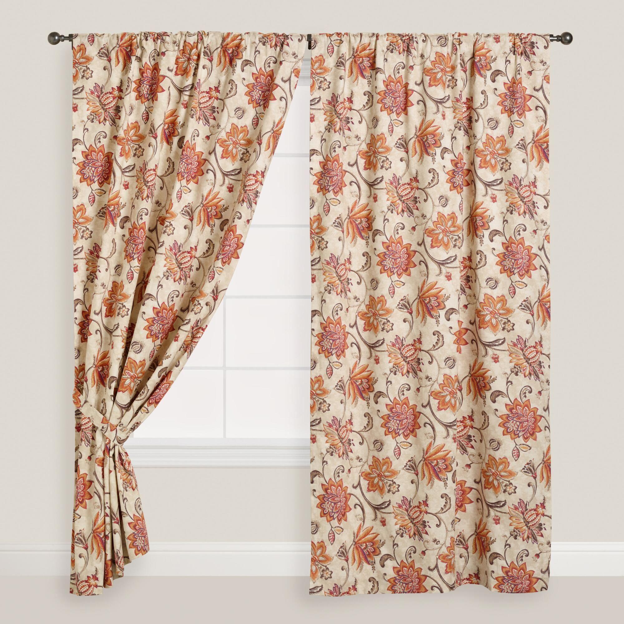 Coral & Pink Floral Eva Concealed Tab Top Curtains, Set Of
