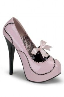 Baby Pink Black Patent Faux Leather Scalloped Heels