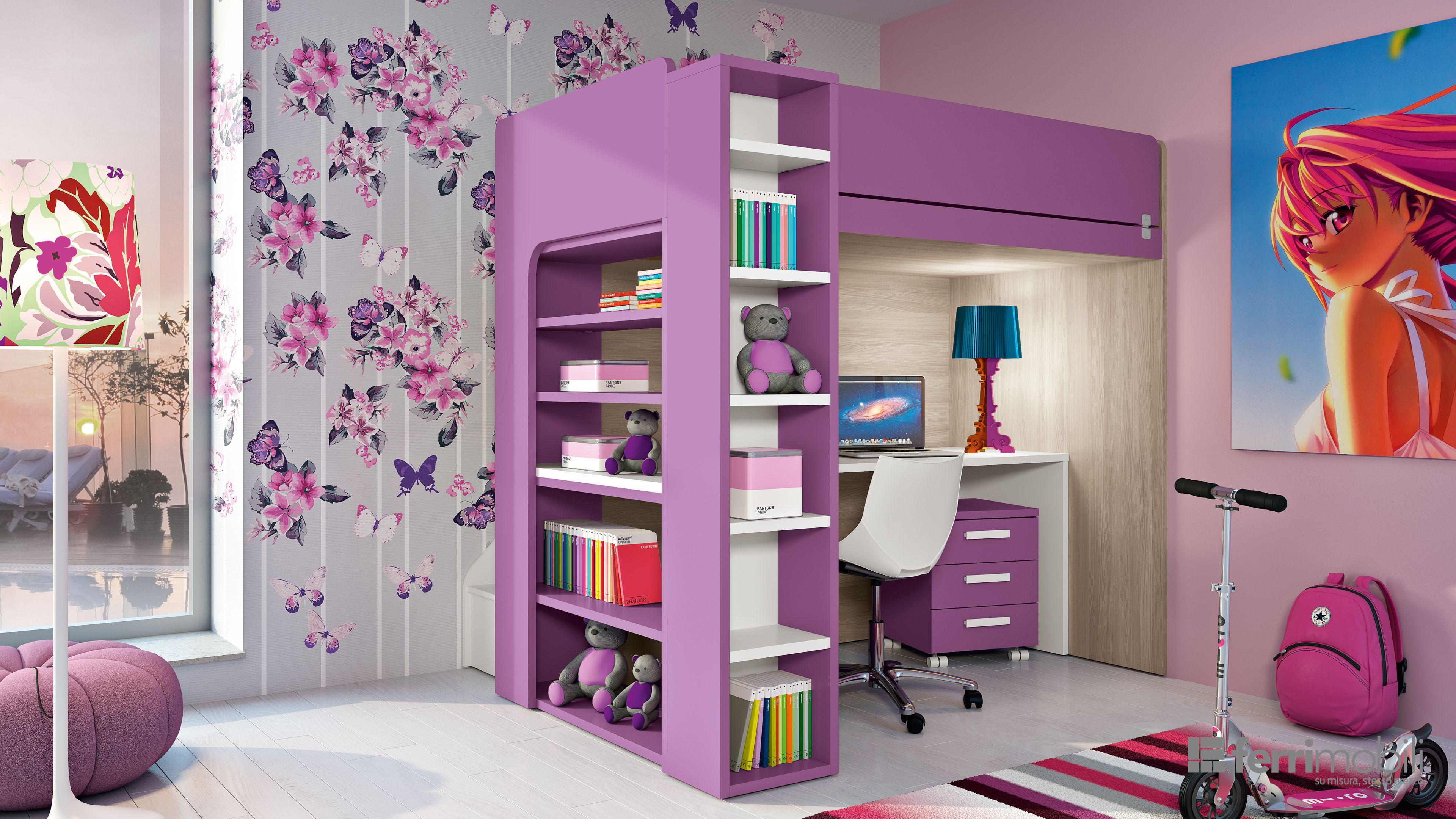 In questa cameretta per ragazze la spaziosa libreria ...