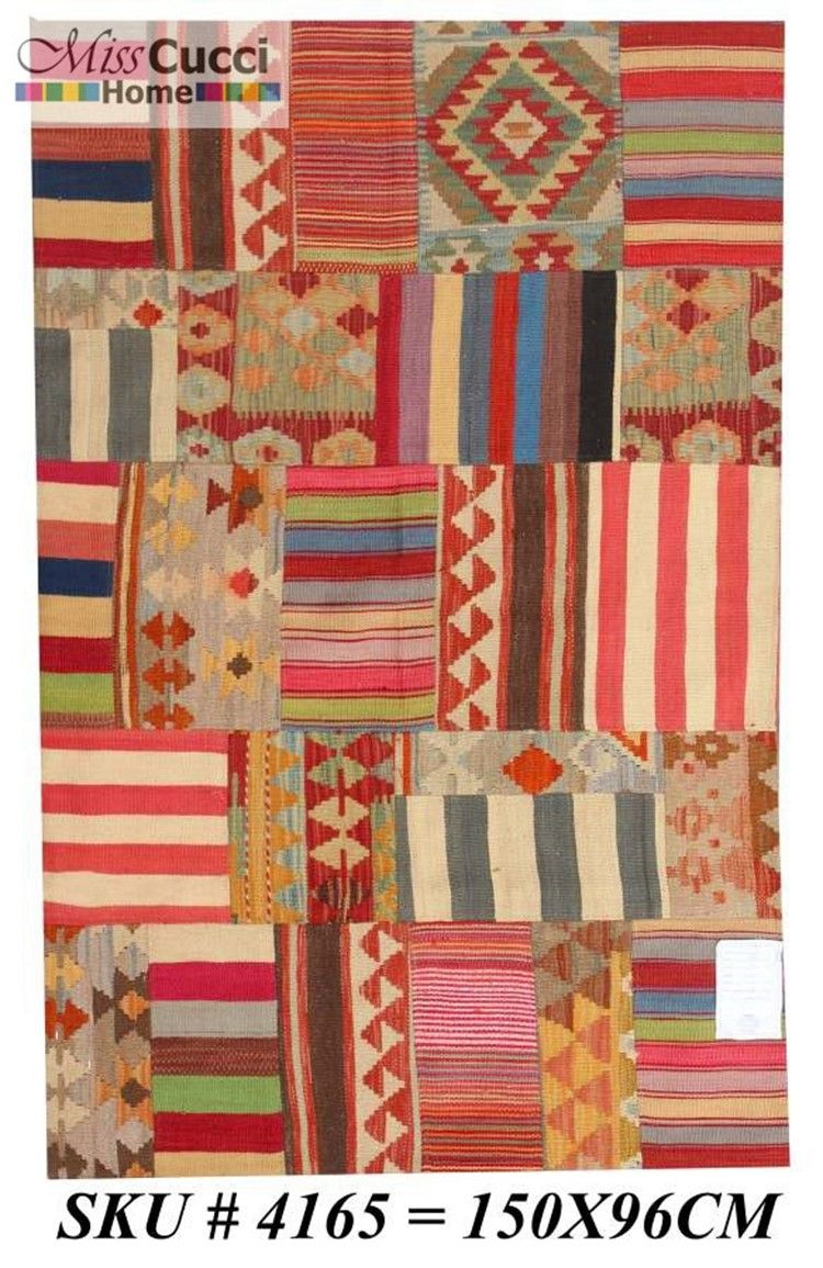 150x96 Handmade woolen patchwork carpet HandamdeCarpet