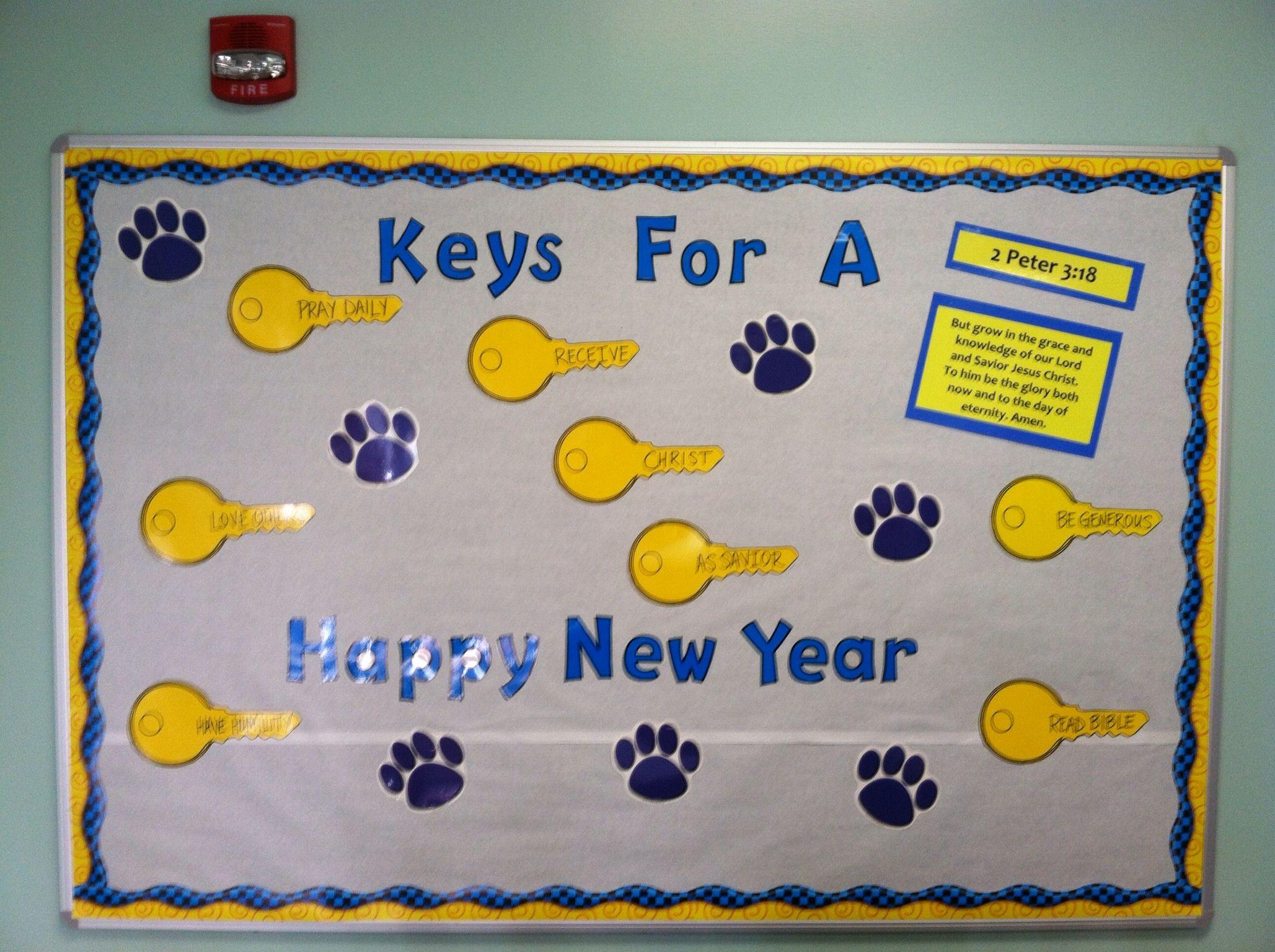Bulletin board - new year :) | Bulletin board decor ...