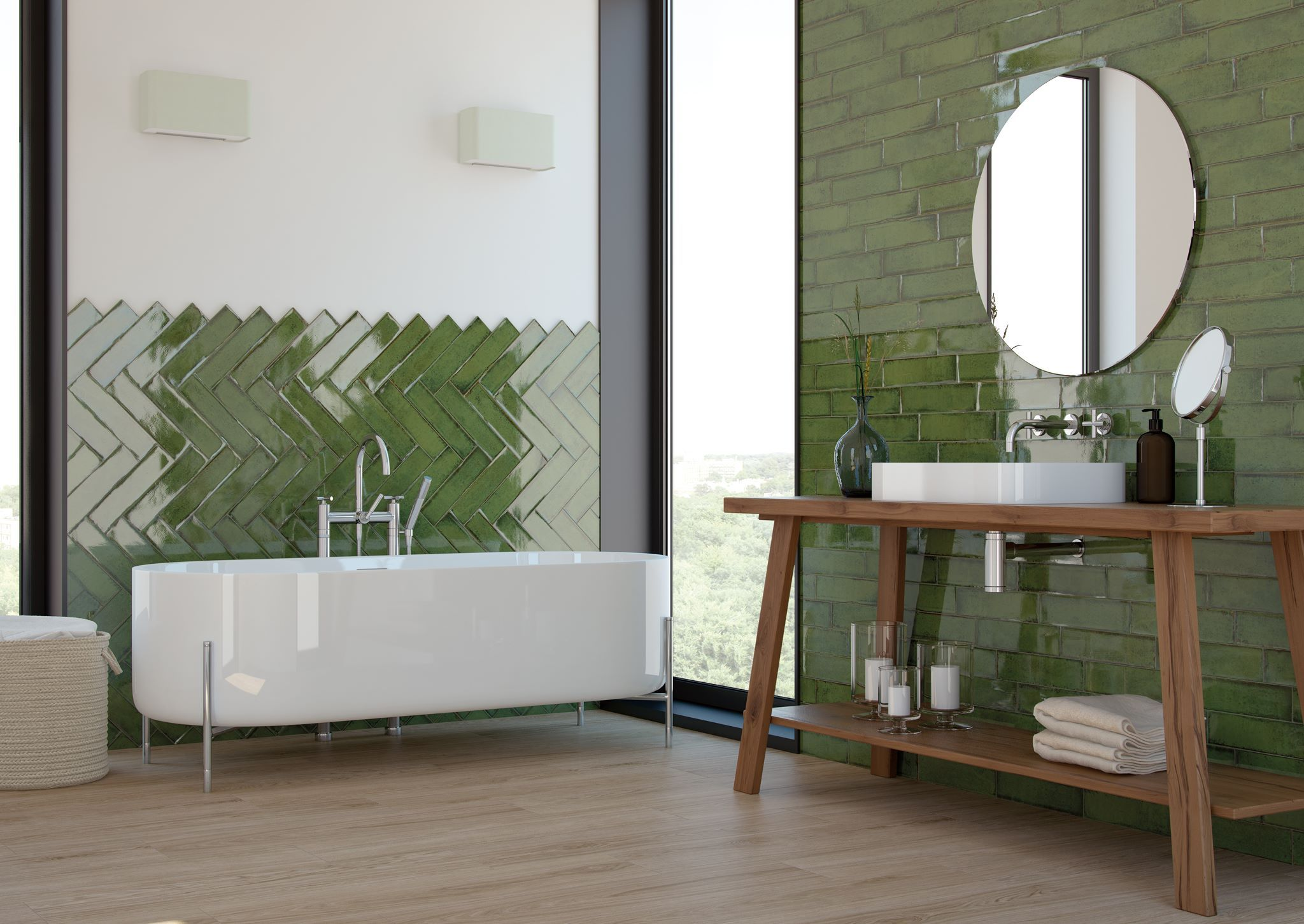 Vintage green bathroom with alchimia olive wall tiles from cifre vintage green bathroom with alchimia olive wall tiles from cifre dailygadgetfo Images