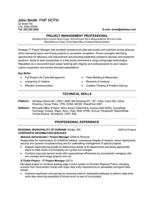 Click Here To Download This It Project Management Resume Template