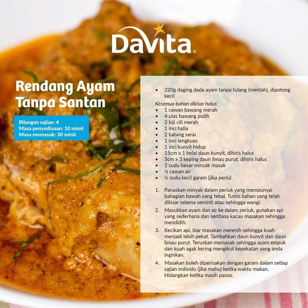 Resepi Mesra Ginjal Rendang Ayam Tanpa Santan Food Chicken Meat