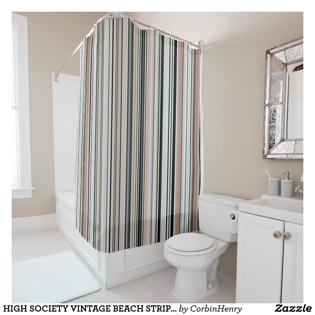 HIGH SOCIETY VINTAGE BEACH STRIPES 002 Shower Curtain Even Though This Has A Vintage Beachy Name Its Also Comfortable In Contemporary Style Setting