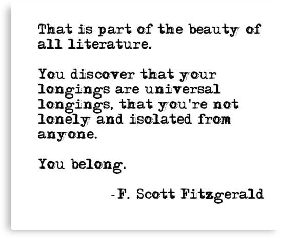 The beauty of all literature - F Scott Fitzgerald Canvas Print by peggieprints