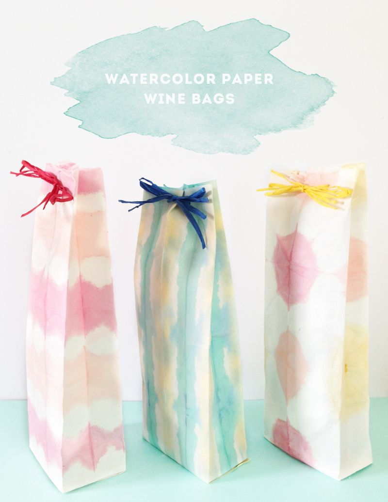 Diy Watercolour Dye Wine Bag Diy Diy Party Diy Crafts