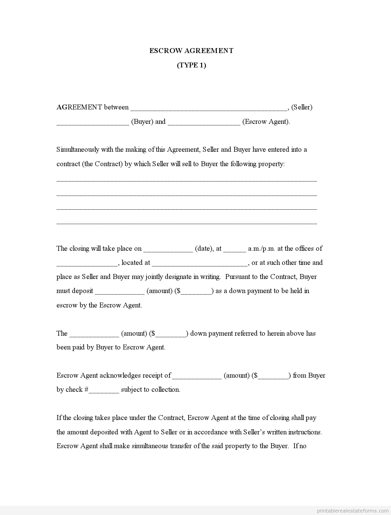 Sample Printable Escrow Agreement Type 1 Form Printable Real